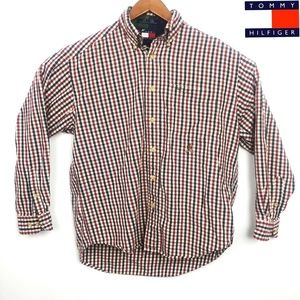Mens Tommy Red Plaid Long Sleeve Button Down Shirt